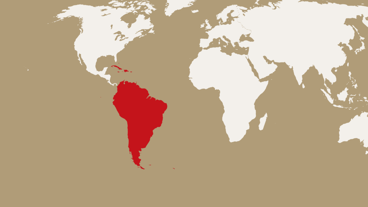 map highlighting the Caribbean and South America