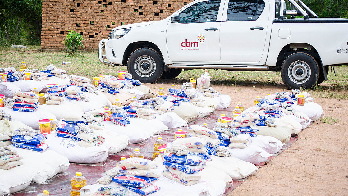 CBM truck with food packages