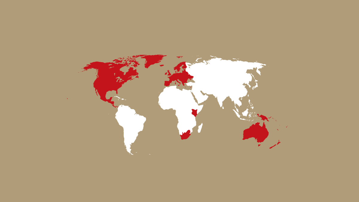 World map of highlighting countries where CBM is active