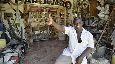 Someon runs his own hardware shop with support from CBM (Kenya). ©CBM/argum/Einberger