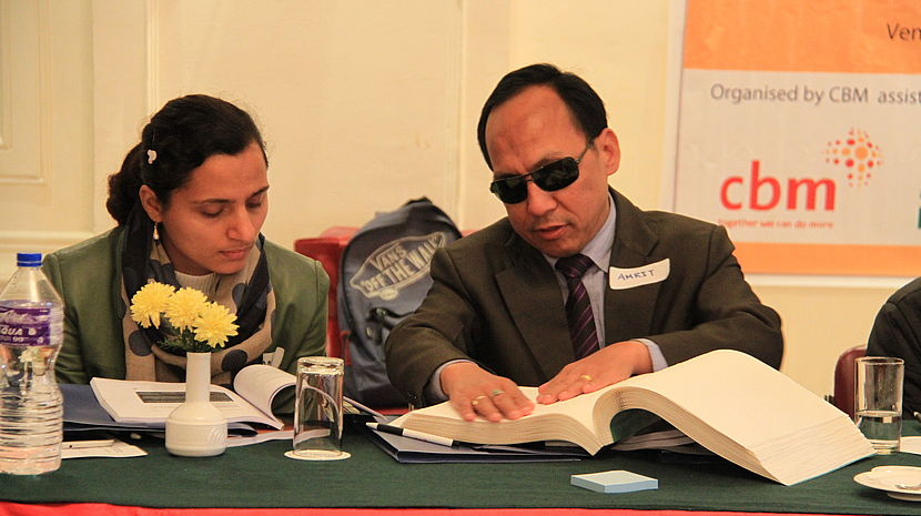 Image shows Amrit Rai (President, National Association of Blind, Nepal) on the right, and Bishnu Sapkota from NFDN