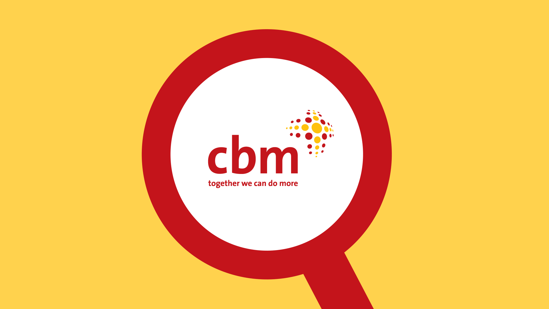 CBM logo inside a magnifier glass